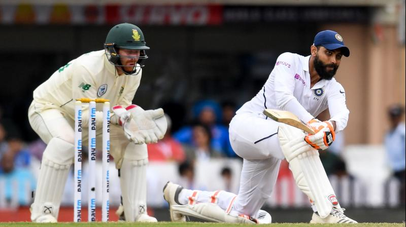 Ravindra Jadeja contributed with 51 before the last two Indian batsmen were called back at the stroke of tea. (Photo: AFP)