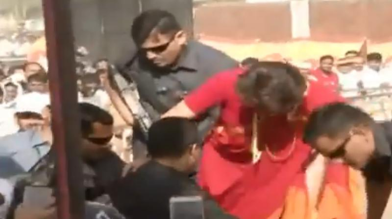 Priyanka met the crowd after her speech in support of Congress candidate Kantilal Bhuria. (Photo: Scrrengrab)