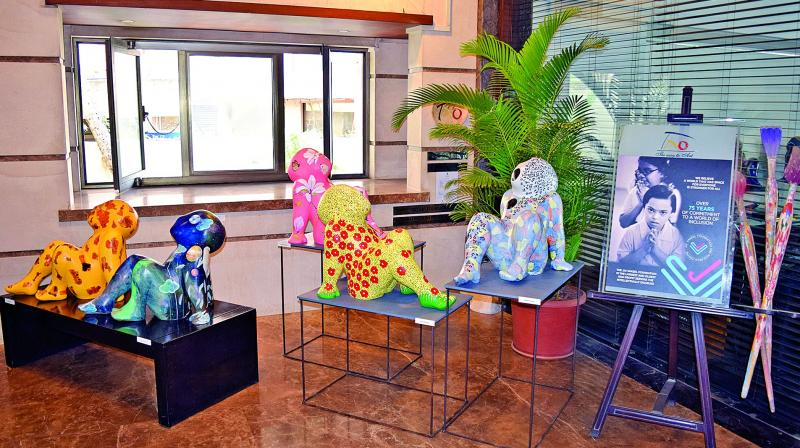 Some of the sculptures on display at the gallery