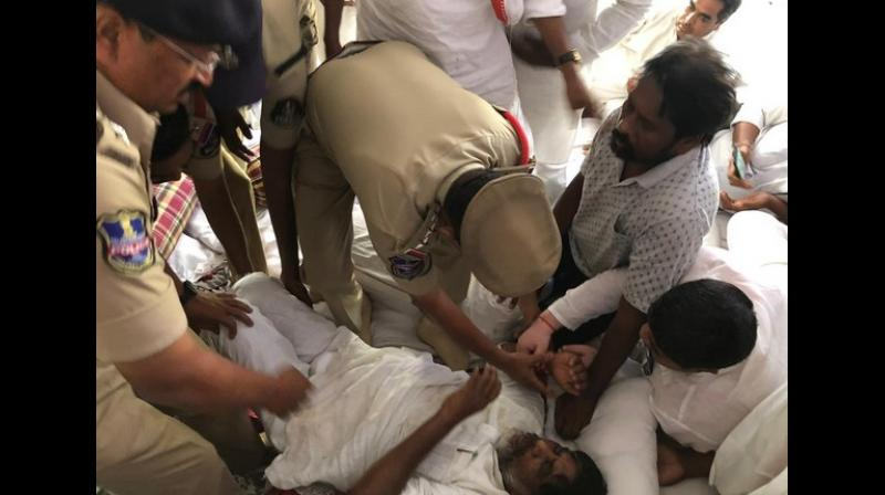Bhatti Vikramarka broke his fast after 48 hours in the presence of senior leaders of Congress party. (Photo: ANI)