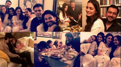 Bollywood celebrities came together at Dia Mirza's residence in Mumbai on Friday for a party to celebrate Neha Dhupia and Angad Bedi's marriage. (Photos: Instagram)