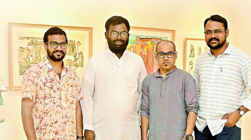 Artists Karunakar Chikkonda, Sumanto Chowdhury, Mohd Asgar Ali and Komakula Rajasekhar.