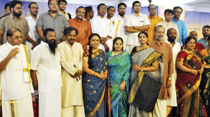Members of Global Carnatic Musicians Association at the music marathon, Mega Raga Varshini, in the city on Tuesday. (Photo: DC)