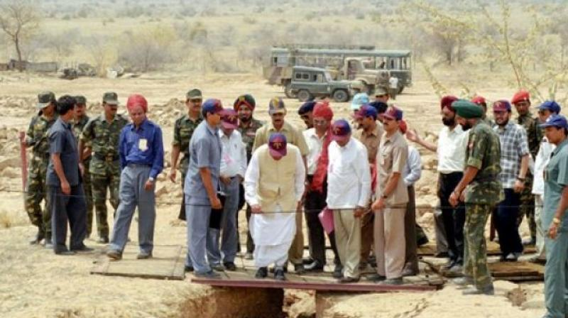 Former PM Late Aatal Bihari Vajpayee at the Pokhran Test Range after the tests. (Photo: PTI)