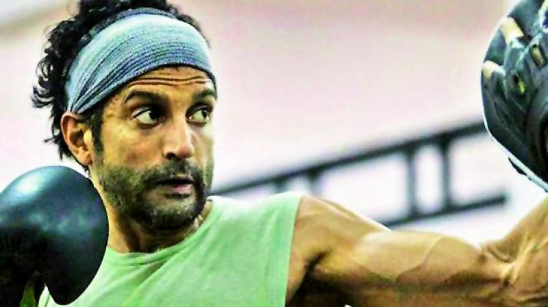 The picture showcases the 45-year-old actor boxing to sharpen his skills for the upcoming flick.
