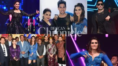 Kriti Sanon, Madhuri Dixit Nene and Sidharth Malhotra were the star performers at the unveiling of the Mumbai T-20 league held in the city on Saturday. (Photo: Viral Bhayani/ Twitter)