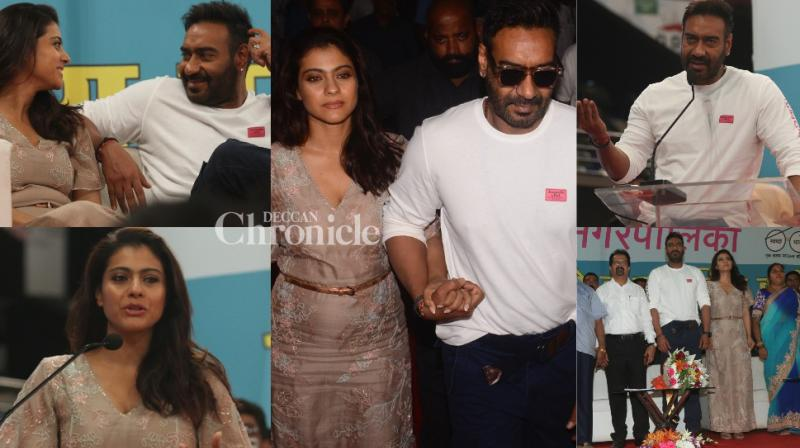 Ajay Devgn and Kajol together supported a cause for the state of Maharashtra at an event in Mumbai on Friday. (Photos: Viral Bhayani)