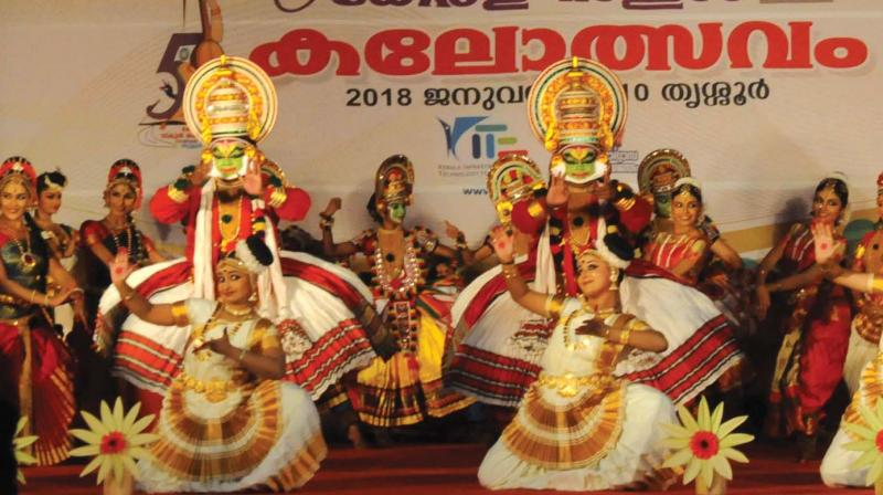 Welcome dance by Kerala Kalamandalam students rings in the 58th state school youth festival in Thrissur on Saturday. (Photos By Anup K. Venu) (Representational image)