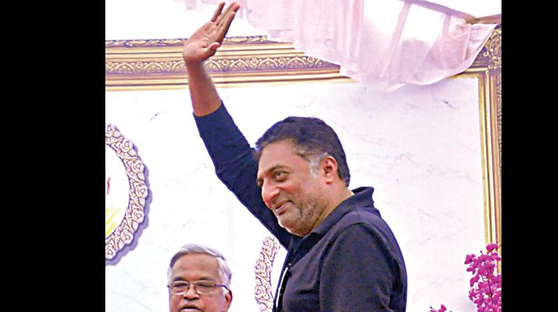 Actor and director Prakash Rai at Sankalp Din in Belagavi on Wednesday. (Photo: DC)