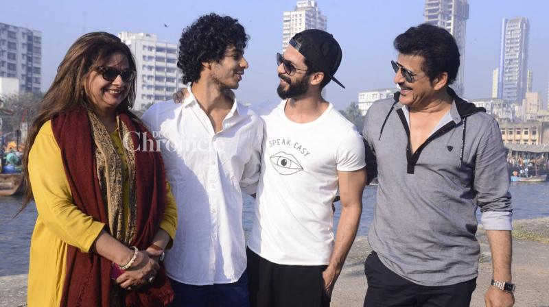 Shahid Kapoor was seen on the sets of his brother Ishaan Khatter's debut film directed by Majid Majidi, which kicked off on Monday. (Photo: Viral Bhayani)