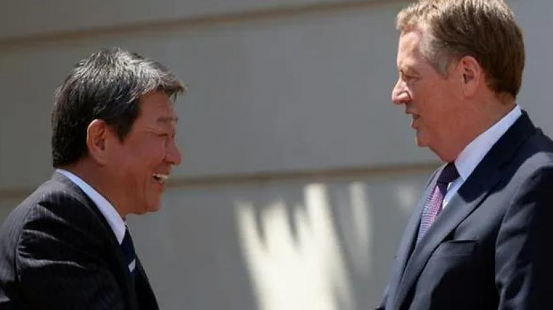 'This progress will be confirmed at the Japan-US summit' on the sidelines of the Group of Seven (G7) summit currently being held in France, where how to proceed further will be also discussed, Motegi said. (Photo: AFP)