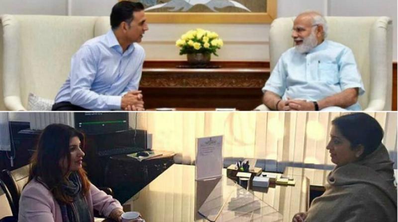Akshay Kumar with PM Narendra Modi, Twinkle Khanna with I&B minister Smriti Irani.