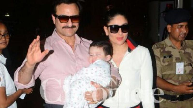 Saif Ali Khan and Kareena Kapoor Khan with Taimur Ali Khan.