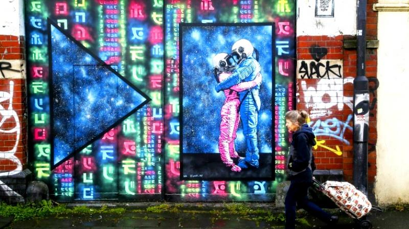 Parts of Bristol, where Banksy is believed to originate, have become like an open-air museum studded with urban frescoes. (Photo: AFP)