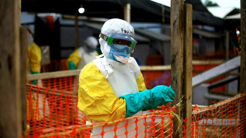 An Ebola health worker is seen at a treatment centre in Beni, Eastern Congo. (Photo: AP)