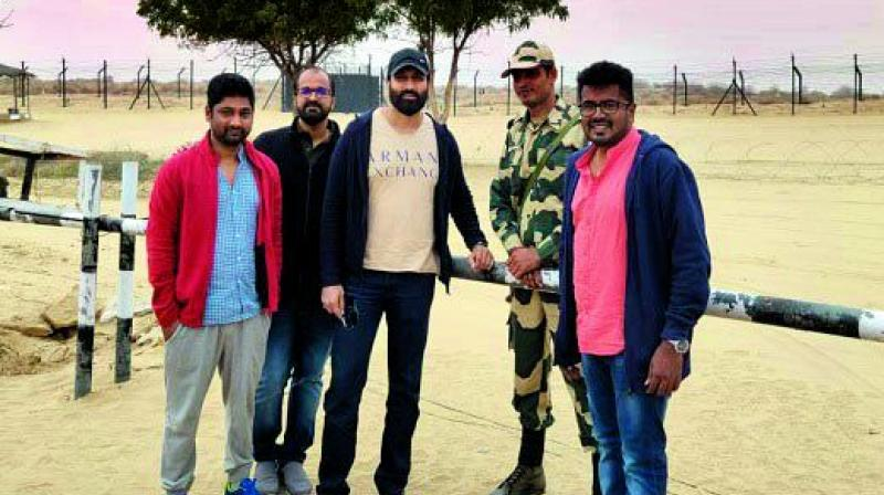 Gopichand with his team at the Indo-Pak border.
