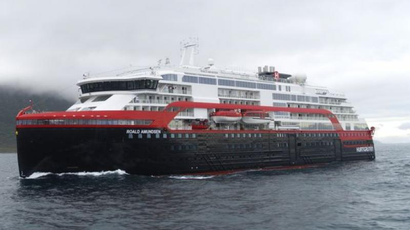 The company estimates that the battery pack will reduce fuel consumption and save about 20 per cent in carbon dioxide emissions, compared to if the ship was operating on marine gasoil alone. (Photo: Hurtigruten)