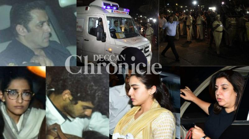 As Bollywood celebrities visited Anil Kapoor's house to console the grieving family,  Sridevi's mortal remains were brought back from Dubai to Mumbai on Tuesday. (Photo: Viral Bhayani)