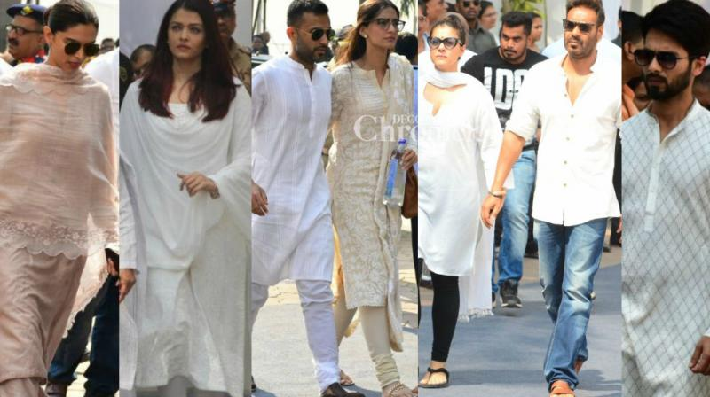 Family and well-wishers arrived to pay their last respects to legendary actress Sridevi in Mumbai after her death in Dubai on Saturday. (Photo: Viral Bhayani)