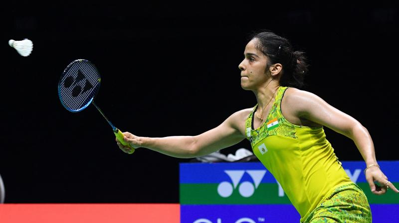 The Japanese dynamo showed her fighting spirit as she reeled off six points on the trot to surpass Saina and seal the match. (Photo: AFP)