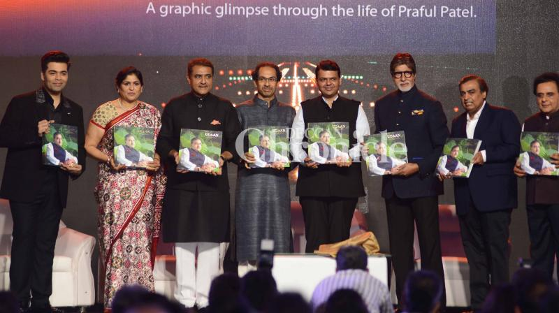 Amitabh Bachchan, Karan Johar, Abhishek Bachchan and several other Bollywood celebrities were present along with politicians and other celebrities at the launch of politician Praful Patel's book on Sunday. (Photo: Viral Bhayani)