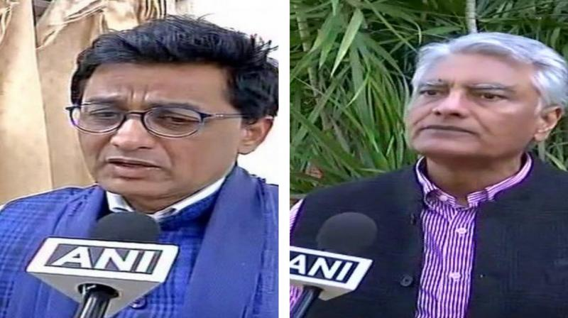 Jakhar proposed the resignation in wake of defeat from Gurdaspur while Ajoy's offered after the party could manage to win only one seat in the state in the recently held Lok Sabha polls. (Photo: ANI)