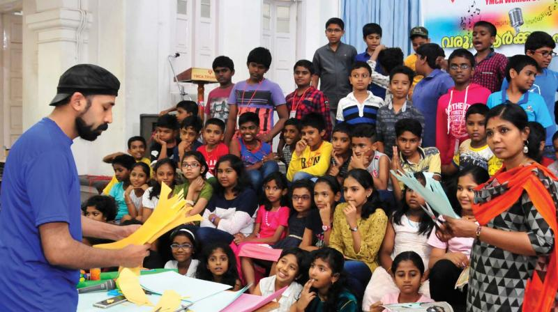Students engaged in various activities at the summer school organised by YMCA in Thiruvananthapuram. (File pic)