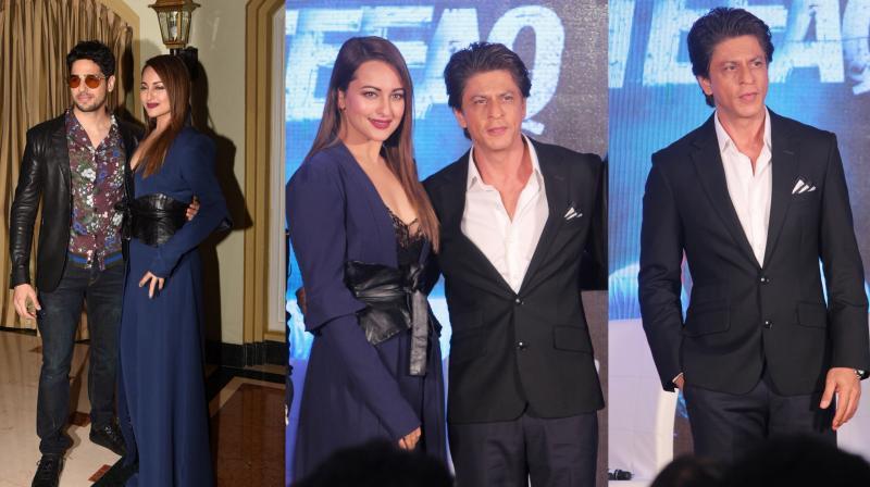 Producer Shah Rukh Khan and lead stars Sidharth Malhotra with co-star Sonakshi Sinha at Ittefaq press meet in Bandra.