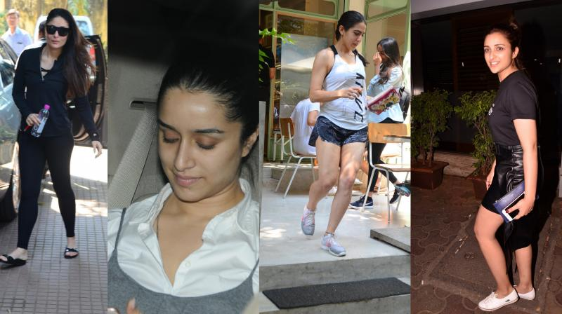 Glamorous Bollywood celebrities like Kareena Kapoor Khan, Shraddha Kapoor, Ranveer Singh, Sara Ali Khan, Katrina Kaif and others were spotted at different locations in the city. (Pictures: Viral Bhayani)