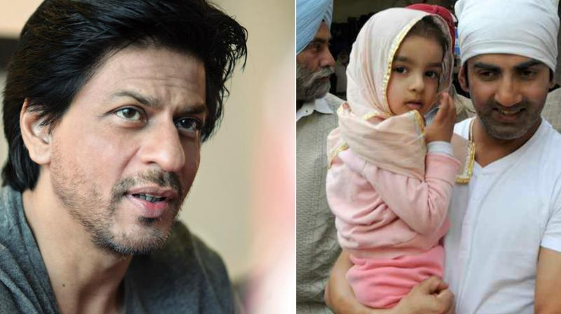 SRK and Gautam Gambhir with his daughter (R).