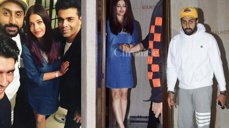 Aishwarya Rai Bachchan was clicked with husband Abhishek Bachchan and her 'Ae Dil Hai Mushkil' director Karan Johar after dinner meeting at Manish Malhotra's residence. (Photos: Viral Bhayani)