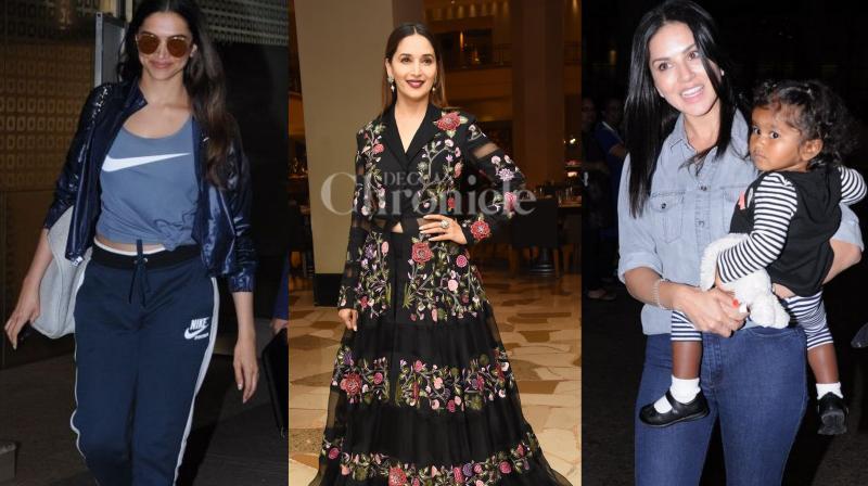 Bollywood celebs Deepika Padukone, Madhuri Dixit, Sunny Leone, Zareen Khan, Rajkummar Rao with Patralekha and others were spotted in the city. (Photos: Viral Bhayani)
