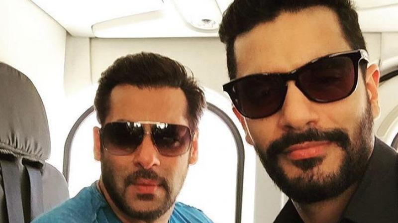 Angad Bedi with Salman Khan.
