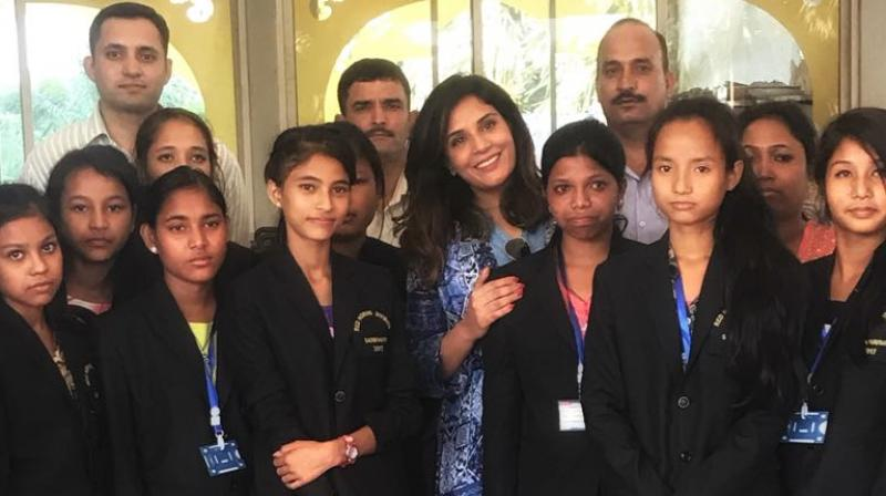 Richa Chadda with the school girls from Assam.