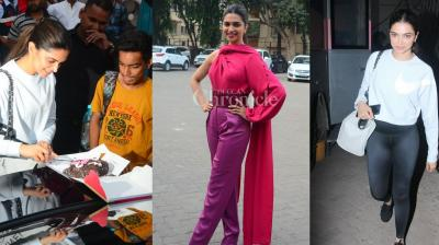 Deepika Padukone was clicked during Padmavati promotions in the city. The actress was also spotted celebrating her 10 years in Bollywood with fans. (Photos: Viral Bhayani)