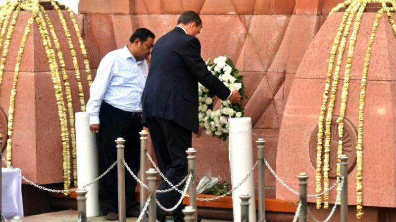 Britain's high commissioner to India laying a wreath on Saturday at the memorial site, on the 100th anniversary of the Jallianwala Bagh massacre. (Photo: AFP)