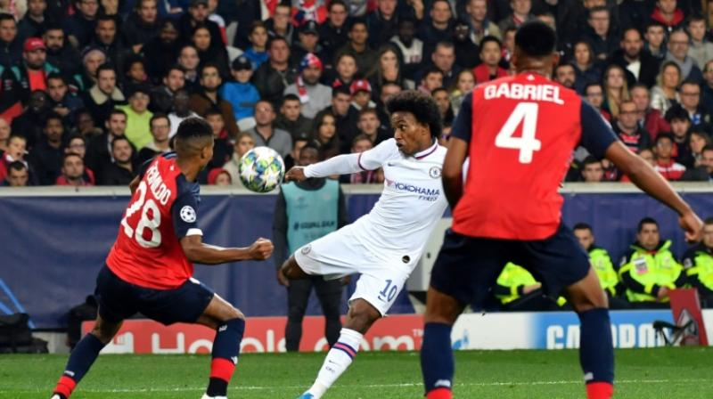 Brazilian Willian volleyed home with 12 minutes left on his 300th Chelsea appearance after Tammy Abraham's opener had been cancelled out by Lille's Victor Osimhen in the first half. (Photo:AFP)