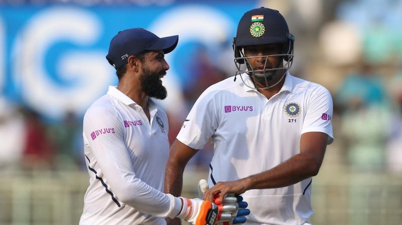 India declared their first innings at 502 for seven on the second day of the series-opener against South Africa. Ravindra Jadeja and Ravichandran Ashwin come back to pavilion after India declared. (Photo:BCCI)