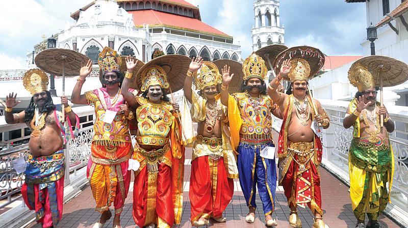 Participants of a 'Maveli' competition in front of the Edappally St. George Forane Church in Kochi (Photo: Sunoj ninan mathew)