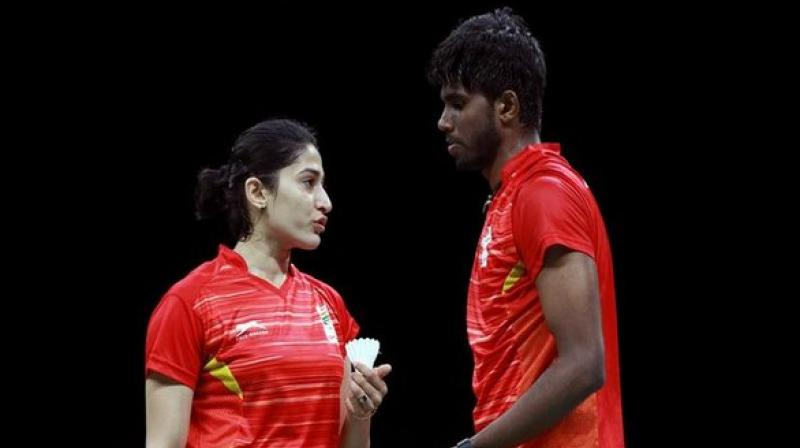 Indian mixed doubles pair of Satwiksairaj Rankireddy and Ashwini Ponnappa on Thursday crashed out of the ongoing Fuzhou China Open here at the Haixia Olympic Center. (Photo:ANI)