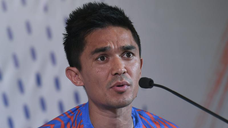 """Indian captain Sunil Chhetri on Wednesday stated """"India will be looking to get no less than 3 points against Thailand"""" ahead of the Blue Tigers' fourth participation in the AFC Asian Cup 2019. (Photo: PTI)"""