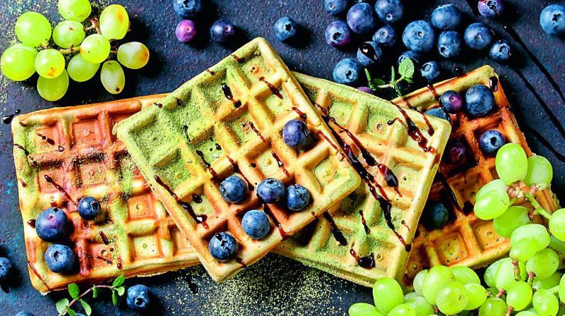 Matcha Amaranth Waffles.