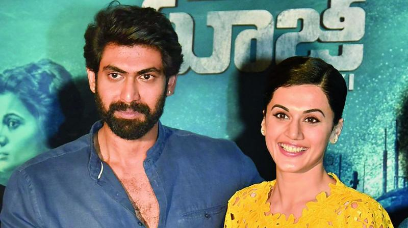 Rana Daggubati with Taapsee at the promotional event on Tuesday