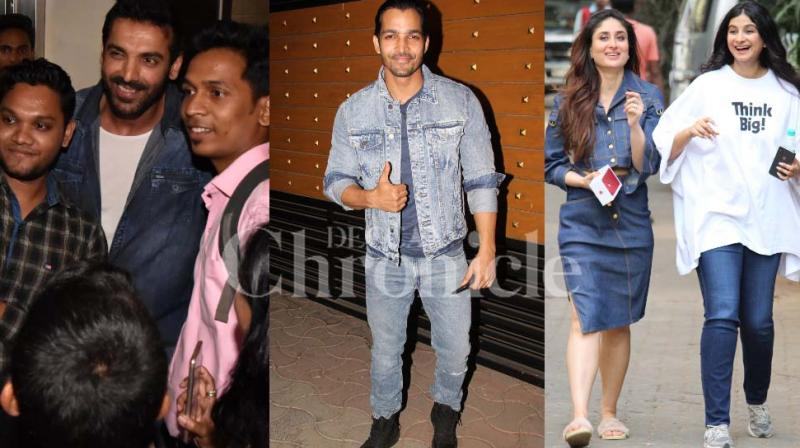 It was a busy day on Thursday since Kareena Kapoor Khan, Sonam Kapoor, Swara Bhasker, Shikha Talsania promoted 'Veere Di Wedding' in the morning and John Abraham held his movie 'Parmanu: The Story Of Pokhran's press and celebrity screening by the night. (Bonus: Saif Ali Khan) (Photo: Viral Bhayani)