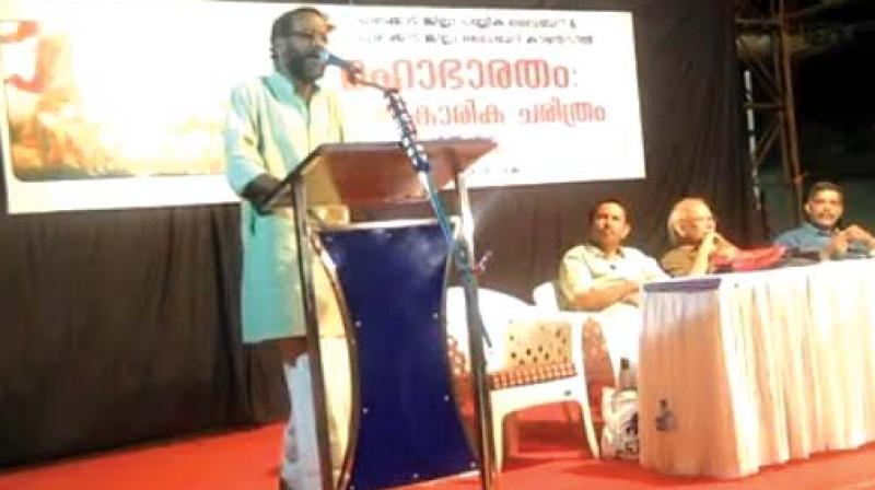 Dr Sunil P Ilayidam delivers speech on 'Cultural history of Mahabharatha' in Palakkad (file pic).