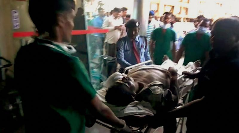 Injured CRPF being brought to Raipur for treatment on Monday follwing a Maoist attack at Burkapal near Chintagufa in Bastar. (Photo: PTI)