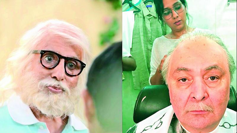 Actors Amitabh Bachchan and Rishi Kapoor's tranformation for the film 102 Not Out.