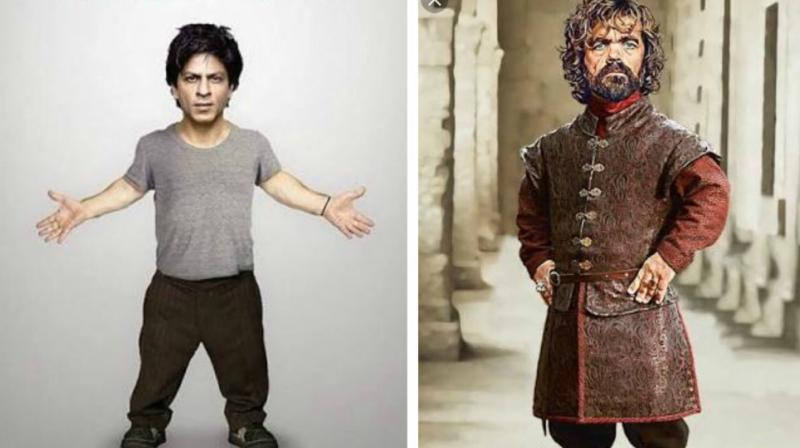 A photo of dwarf Shah Rukh Khan and Tyrone Lannister in GOT.