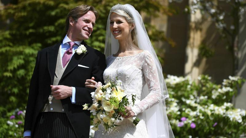 Lady Gabriella Windsor,daughter of Prince and Princess Michael of Kent, tied the knot with financier Thomas Kingston at St. George's Chapel. (Photo: AP)