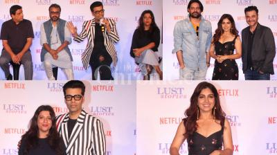 Four filmmakers Karan Johar, Anurag Kashyap, Zoya Akhtar and Dibakar Banerjee have come together for the anthology film 'Lust Stories' for Netflix. Checkout the exclusive pictures from the trailer launch. (Photos: Viral Bhayani)